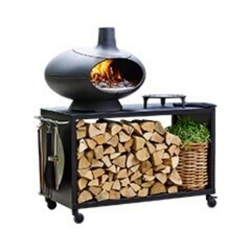 forno a legna morso in ghisa, piano fuoco in refrattario